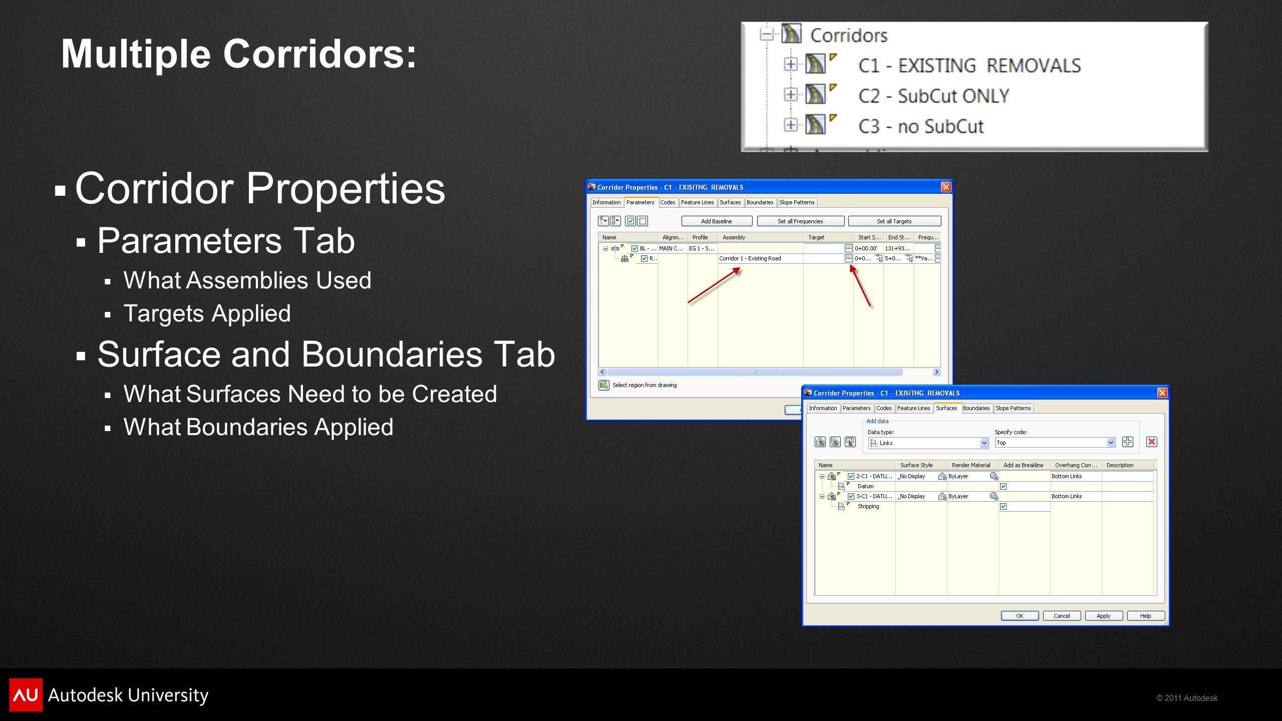 Corridor Properties Multiple Corridors: Parameters Tab