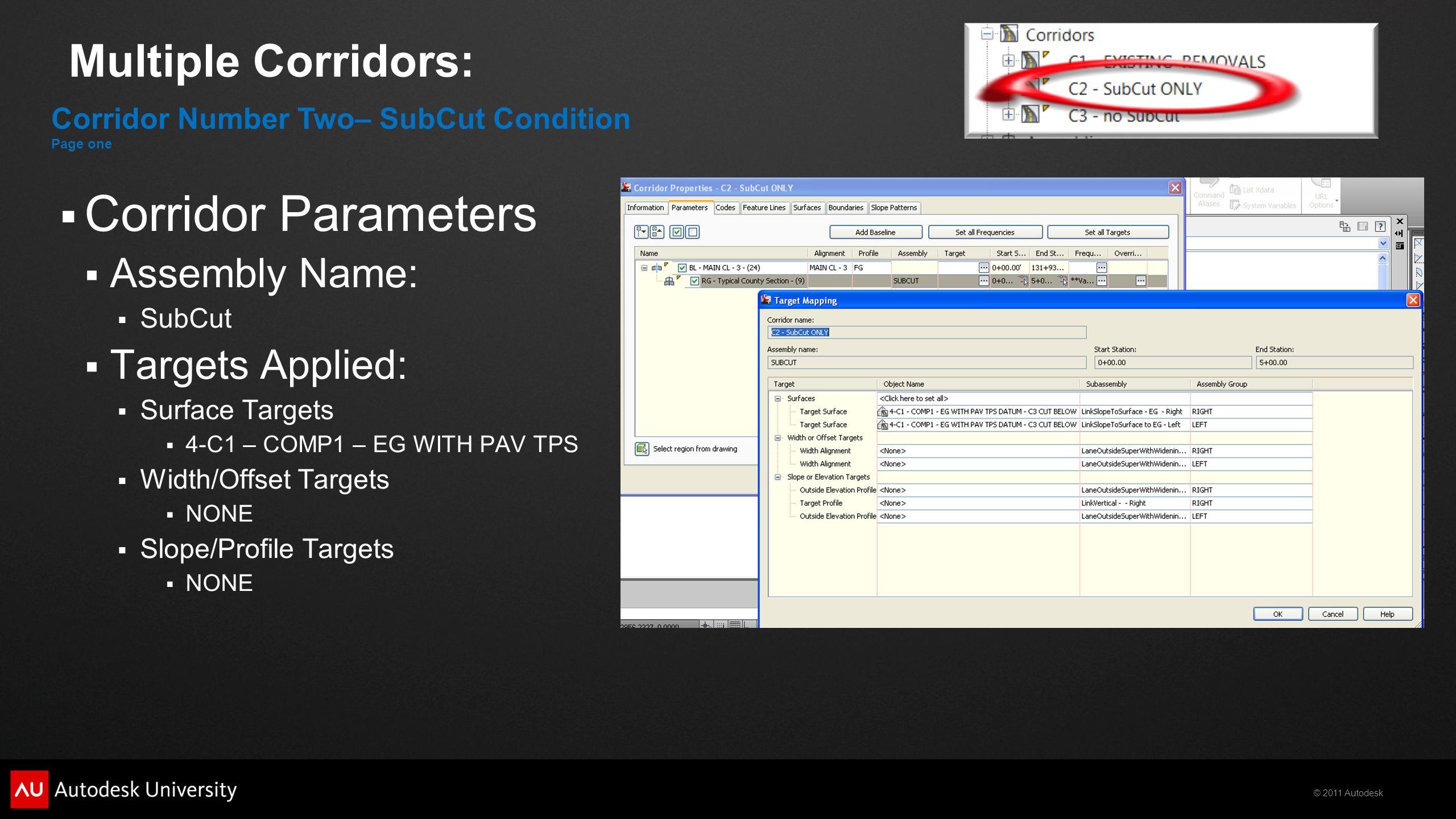 Corridor Parameters Multiple Corridors: Assembly Name: