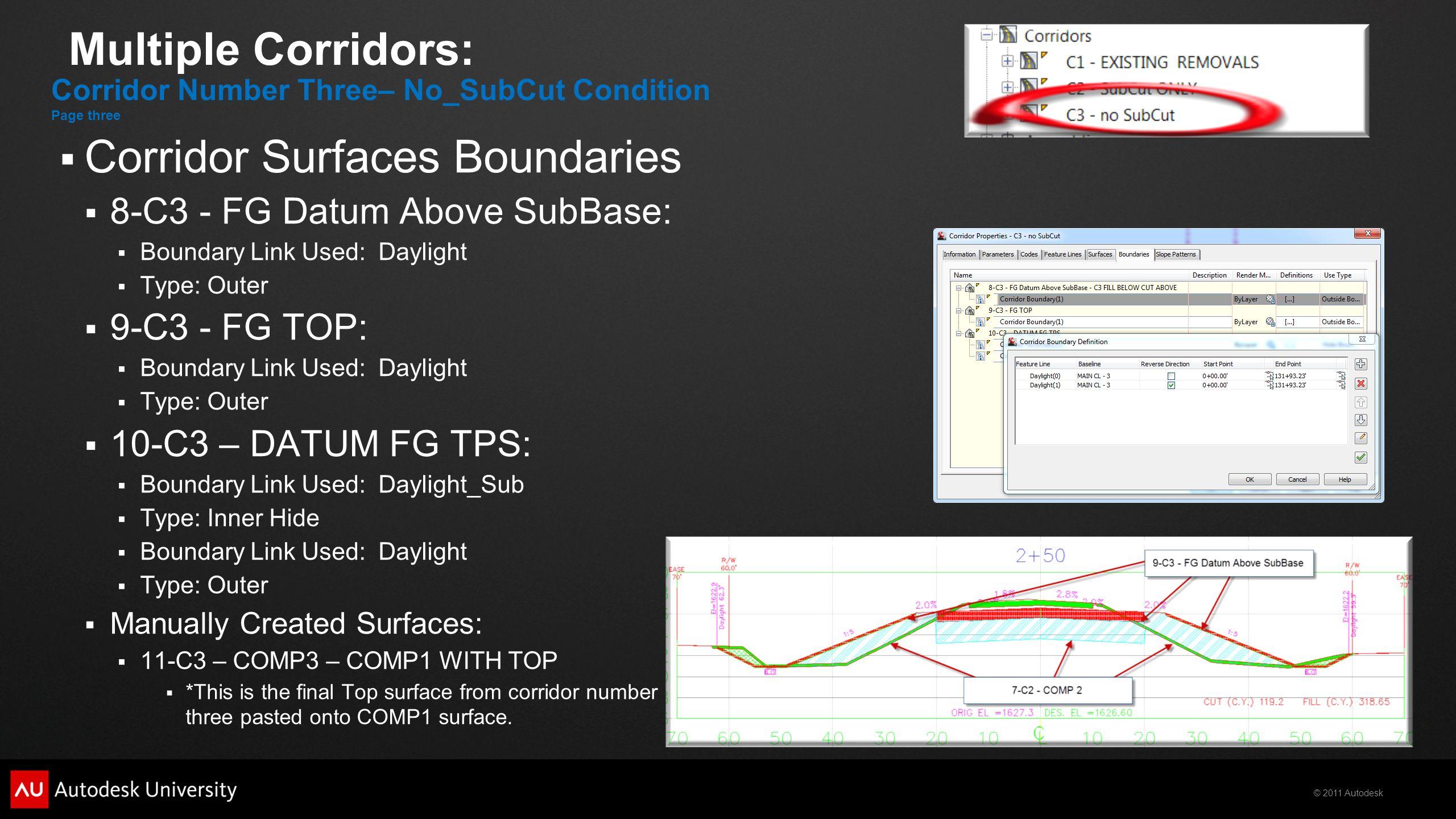 Corridor Surfaces Boundaries