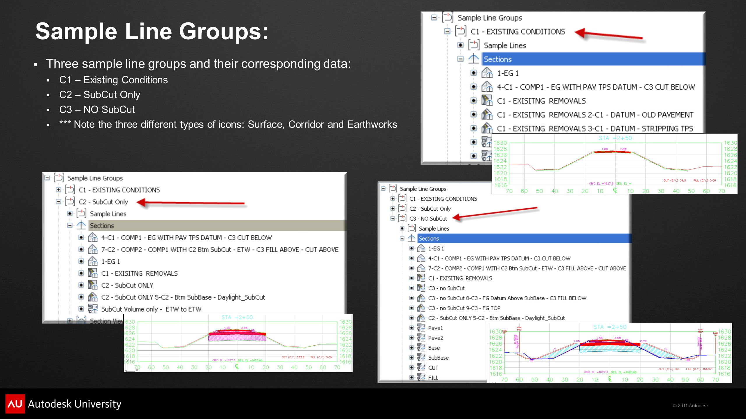 Sample Line Groups: Three sample line groups and their corresponding data: C1 – Existing Conditions.