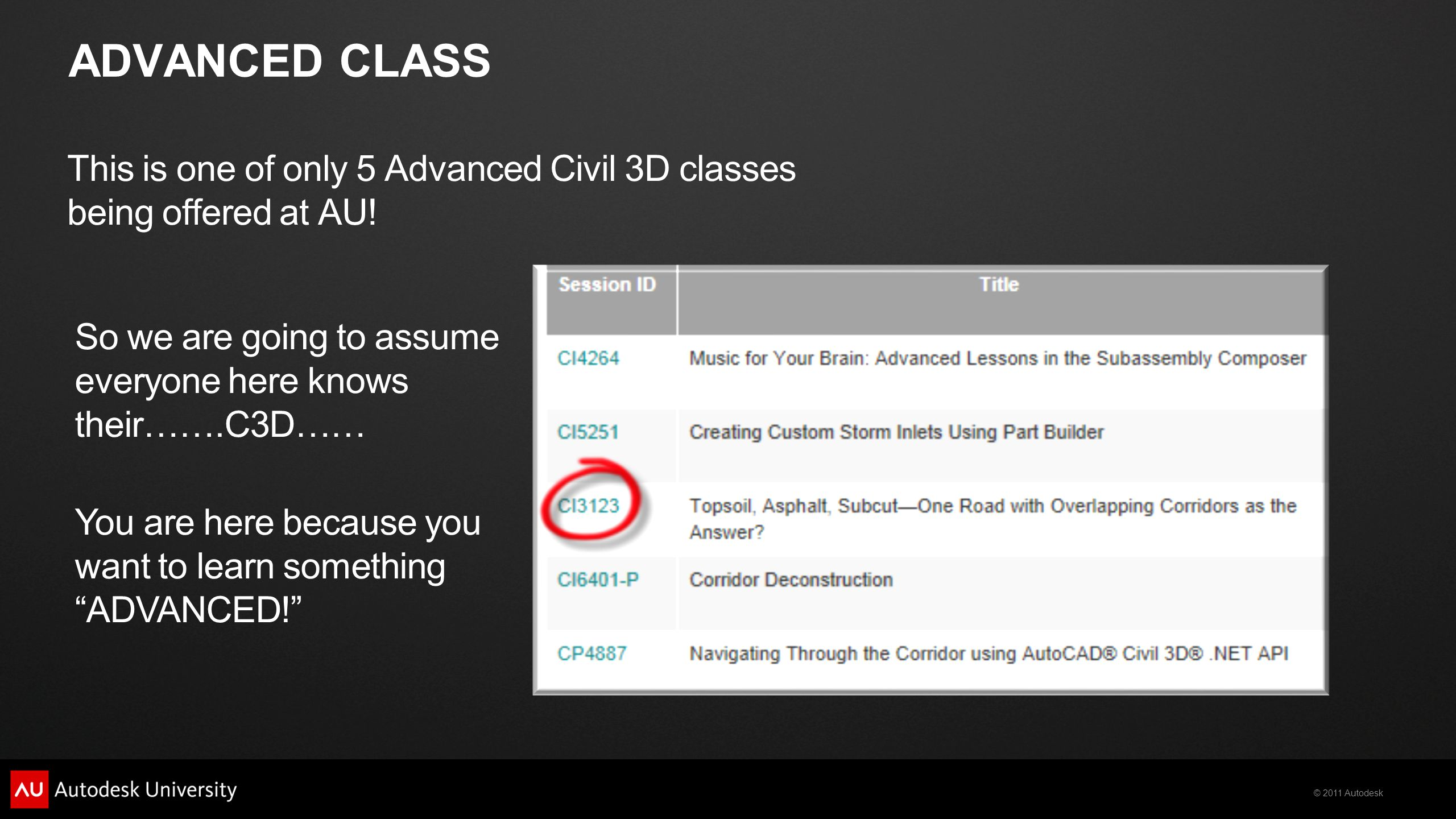ADVANCED CLASS This is one of only 5 Advanced Civil 3D classes being offered at AU! So we are going to assume everyone here knows their…….C3D……