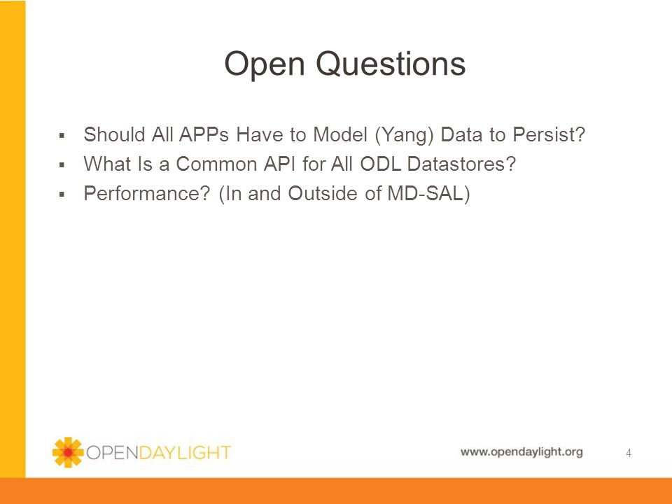 Open Questions Should All APPs Have to Model (Yang) Data to Persist