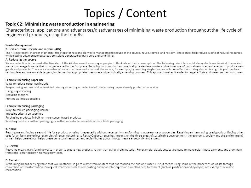 Topics / Content Topic C2: Minimising waste production in engineering