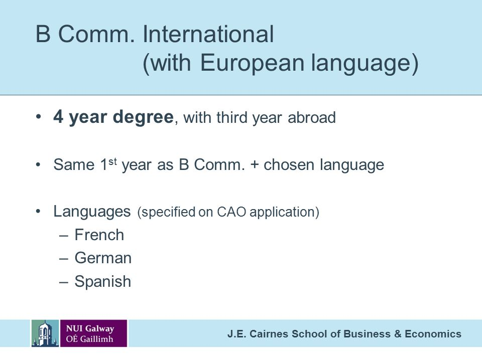 B Comm. International (with European language)