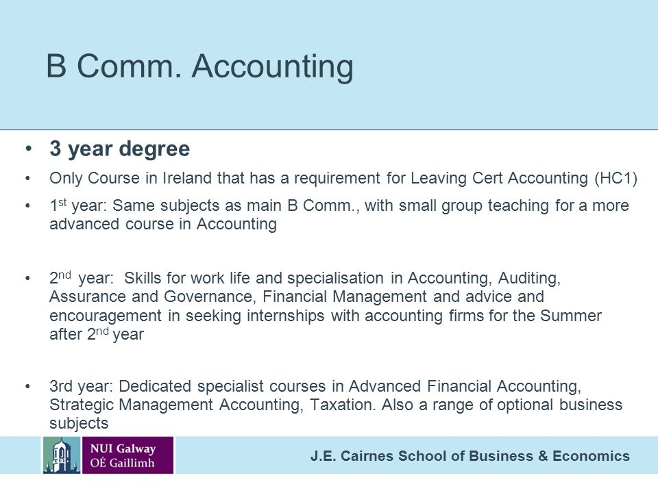 B Comm. Accounting 3 year degree