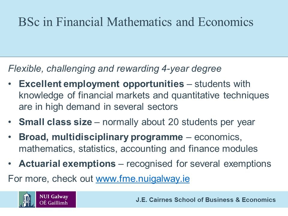 BSc in Financial Mathematics and Economics