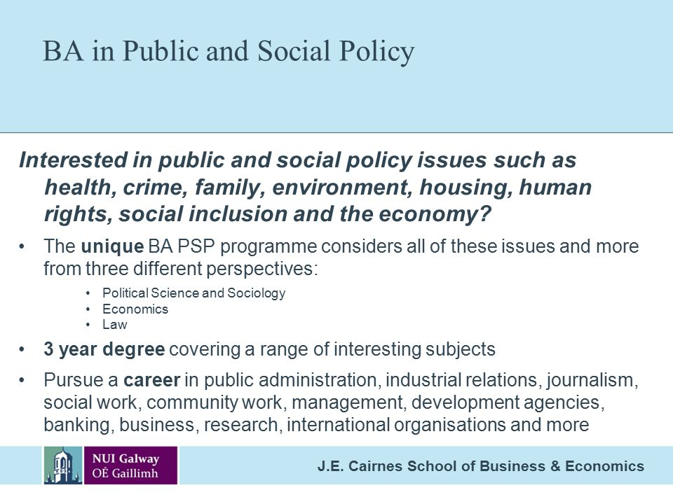 BA in Public and Social Policy