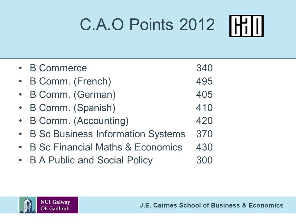 C.A.O Points 2012 B Commerce 340 B Comm. (French) 495