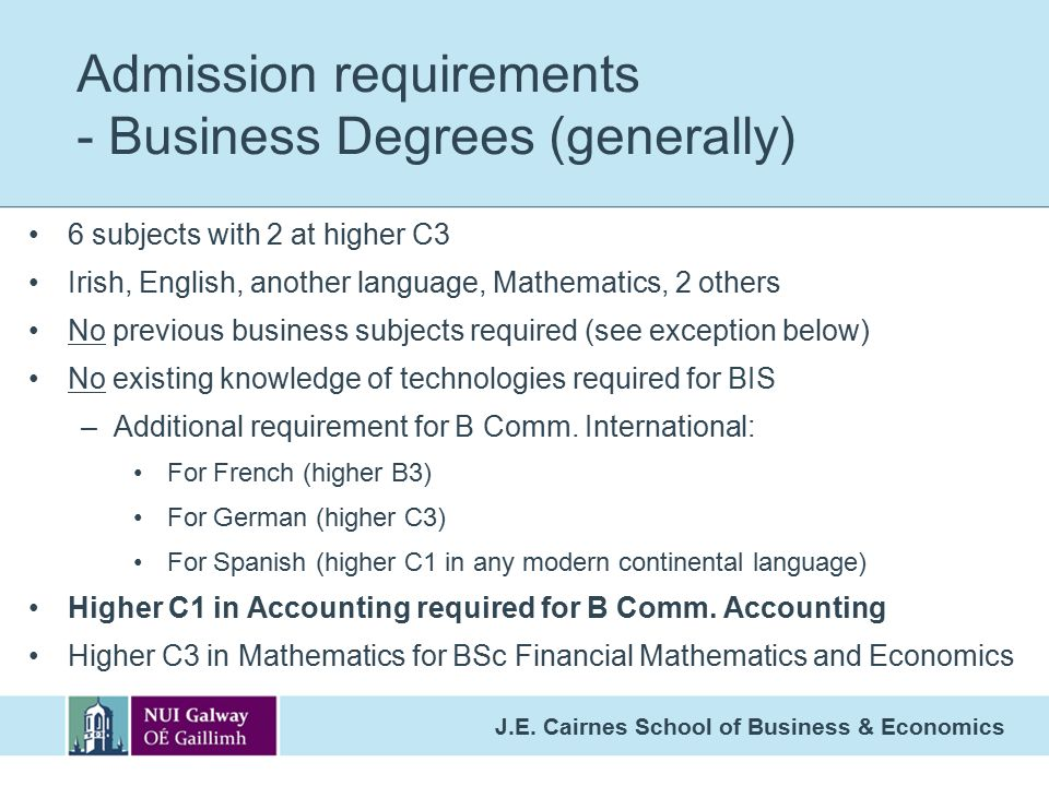 Admission requirements - Business Degrees (generally)