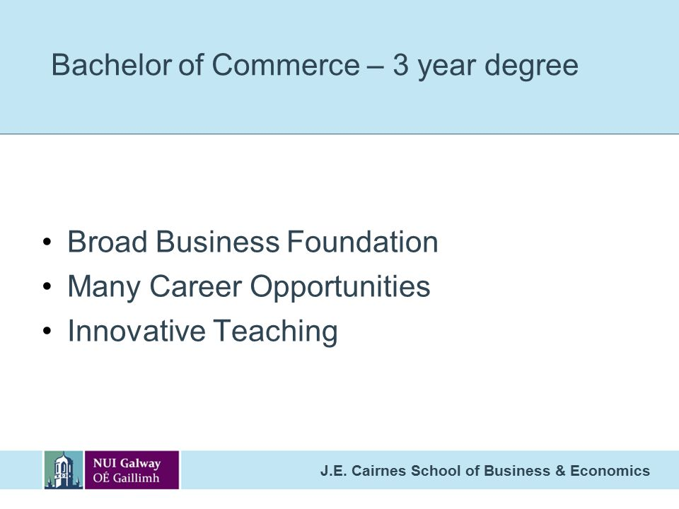 Bachelor of Commerce – 3 year degree
