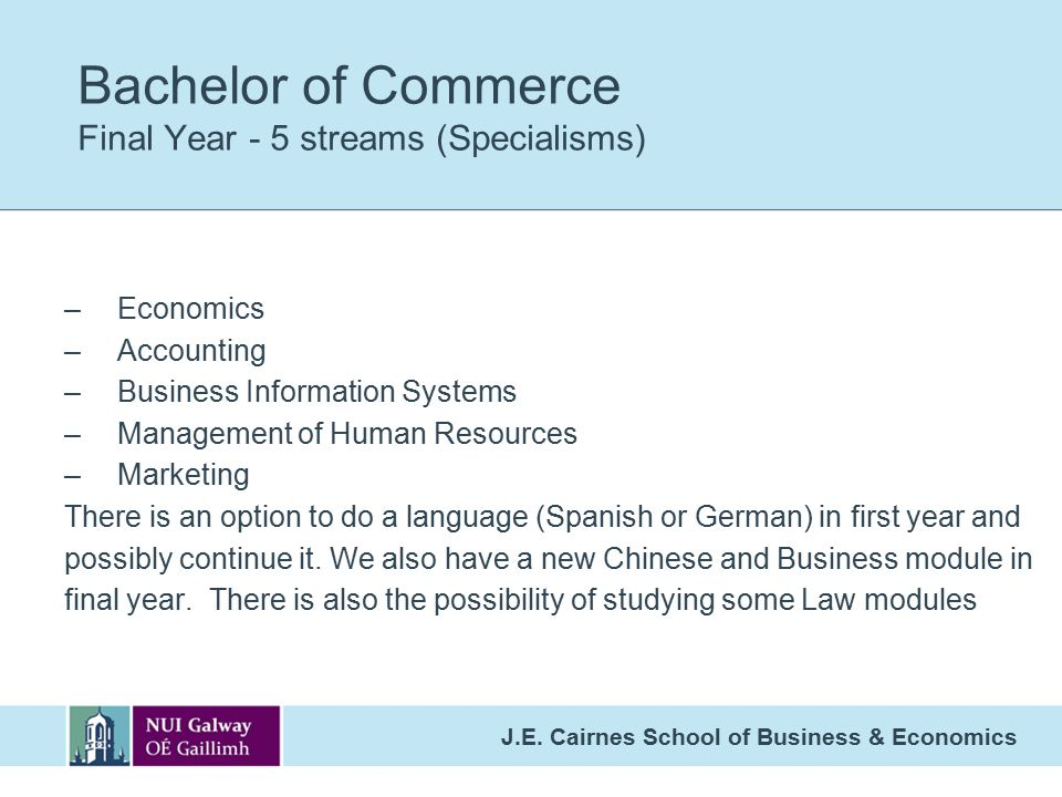 Bachelor of Commerce Final Year - 5 streams (Specialisms)