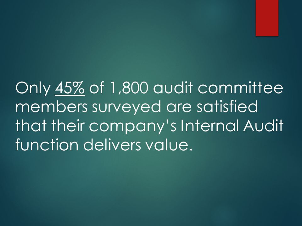 Only 45% of 1,800 audit committee members surveyed are satisfied that their company's Internal Audit function delivers value.
