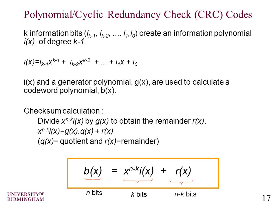 Polynomial/Cyclic Redundancy Check (CRC) Codes