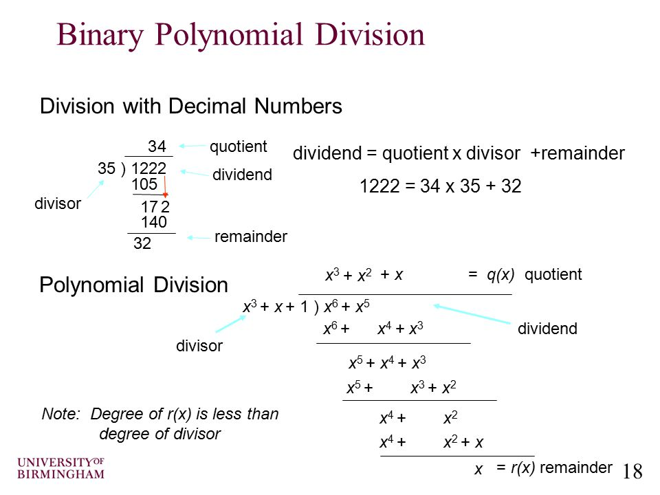 Binary Polynomial Division