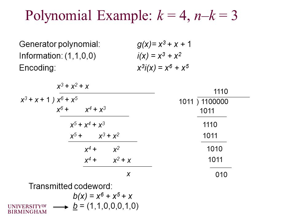 Polynomial Example: k = 4, n–k = 3