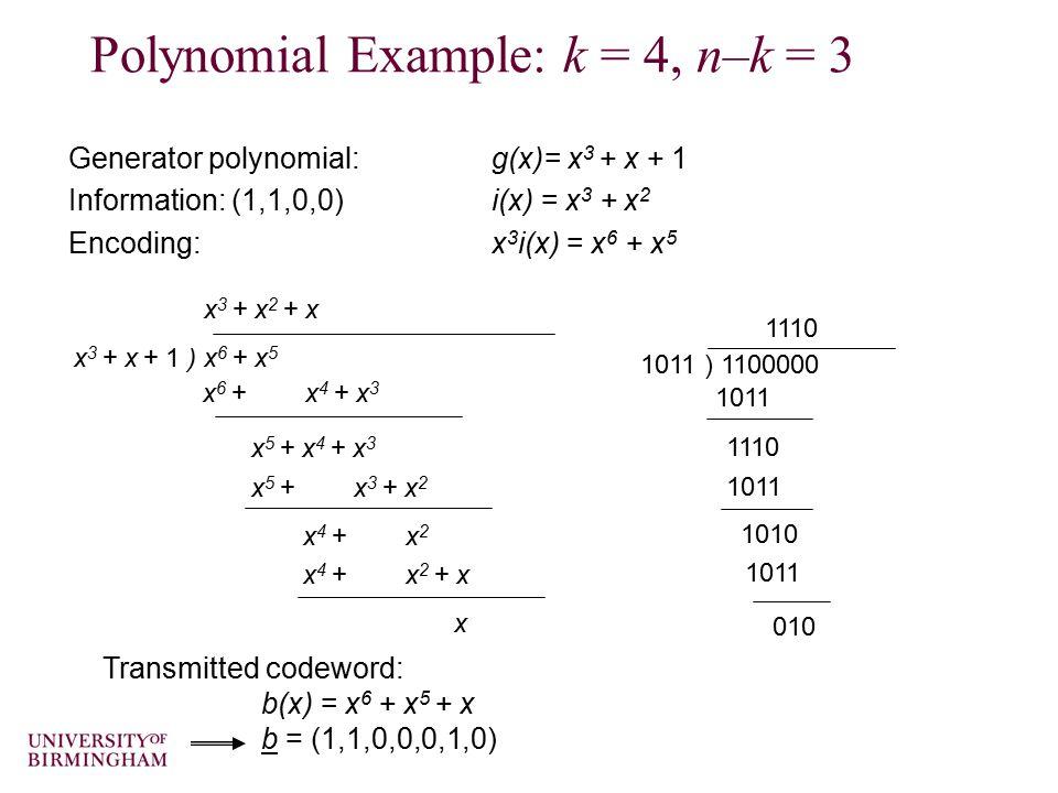 Polynomial Example: k = 4, n–k = 3