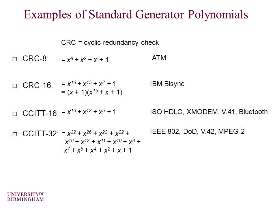 Examples of Standard Generator Polynomials
