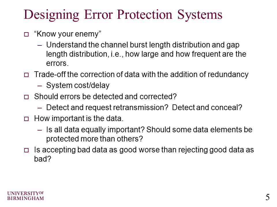 Designing Error Protection Systems