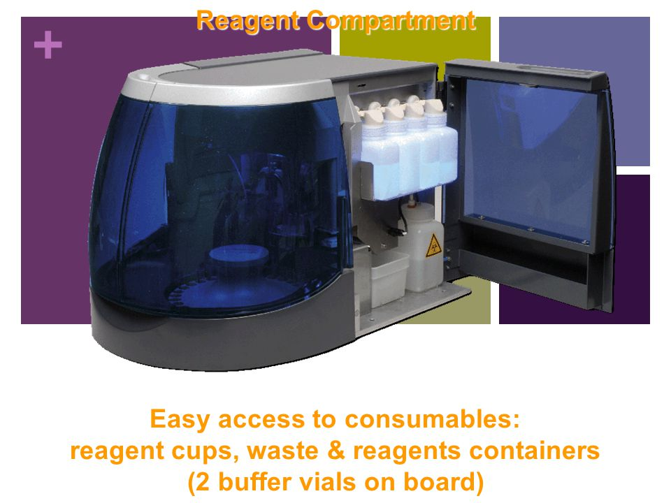 Easy access to consumables: reagent cups, waste & reagents containers