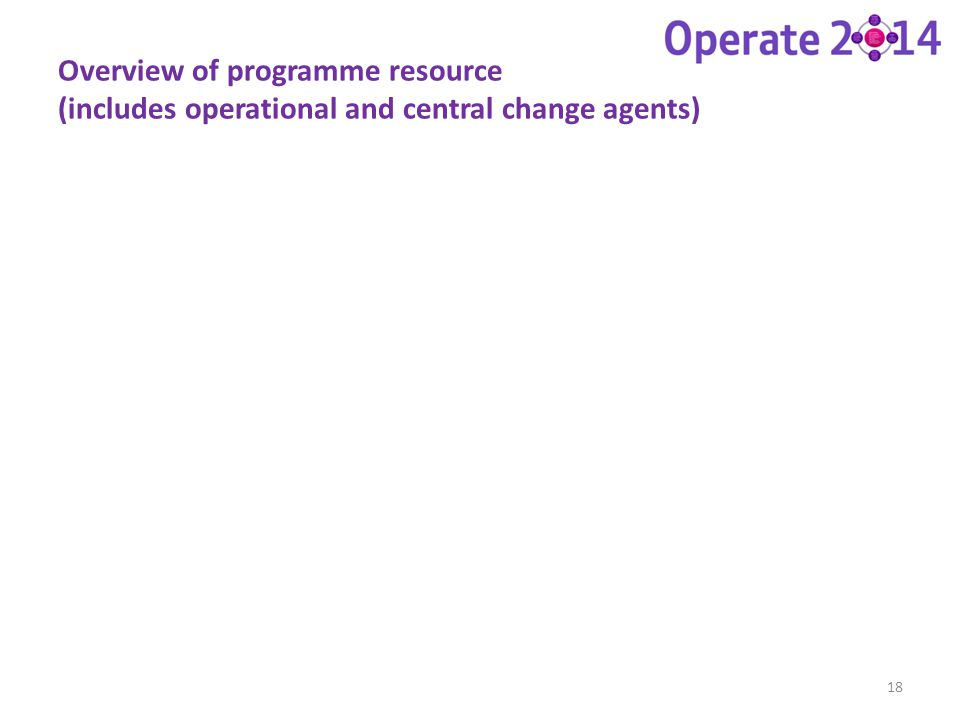 Overview of programme resource (includes operational and central change agents)