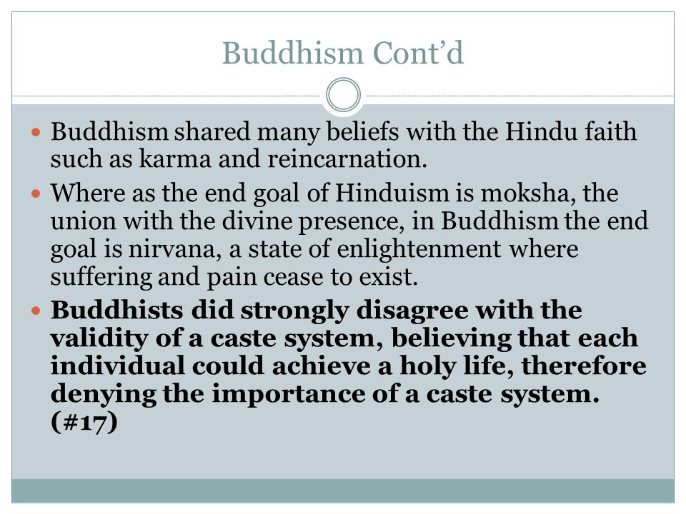 Buddhism Cont'd Buddhism shared many beliefs with the Hindu faith such as karma and reincarnation.