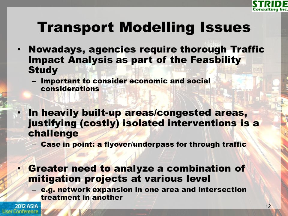 Transport Modelling Issues