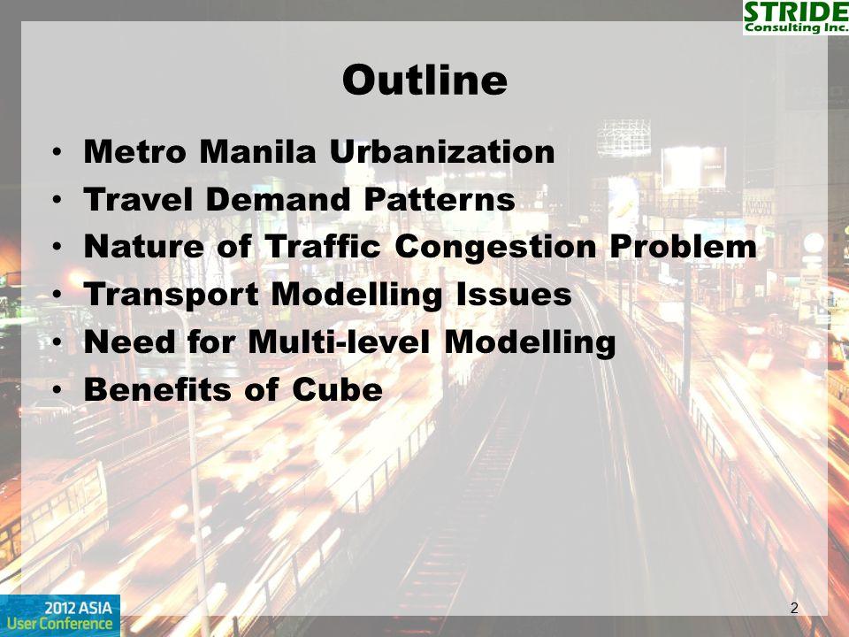 Outline Metro Manila Urbanization Travel Demand Patterns
