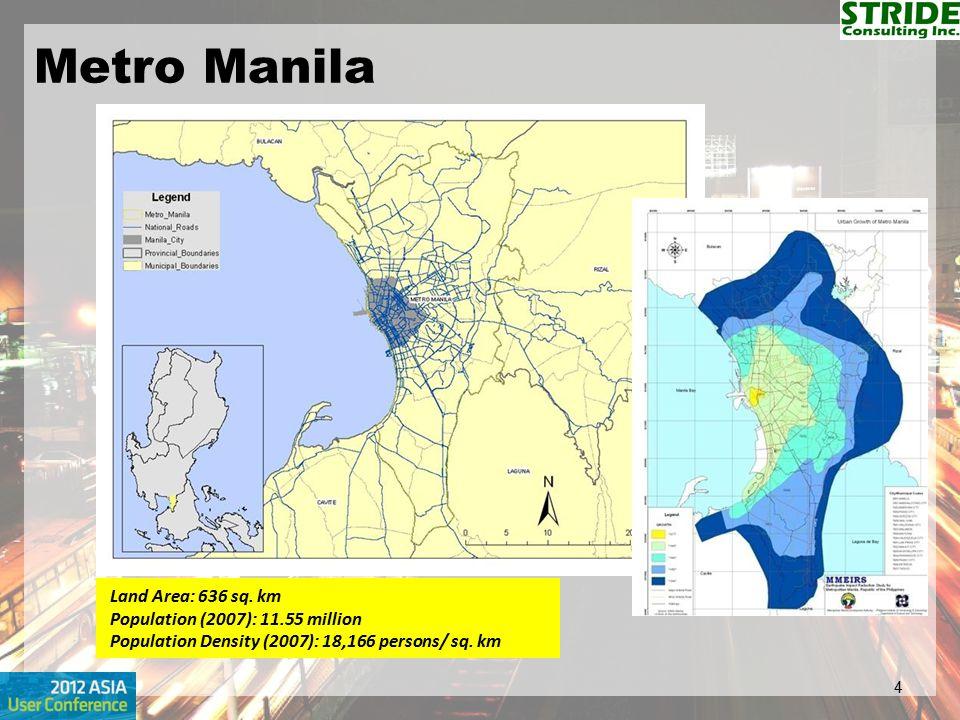 Metro Manila Land Area: 636 sq. km Population (2007): 11.55 million