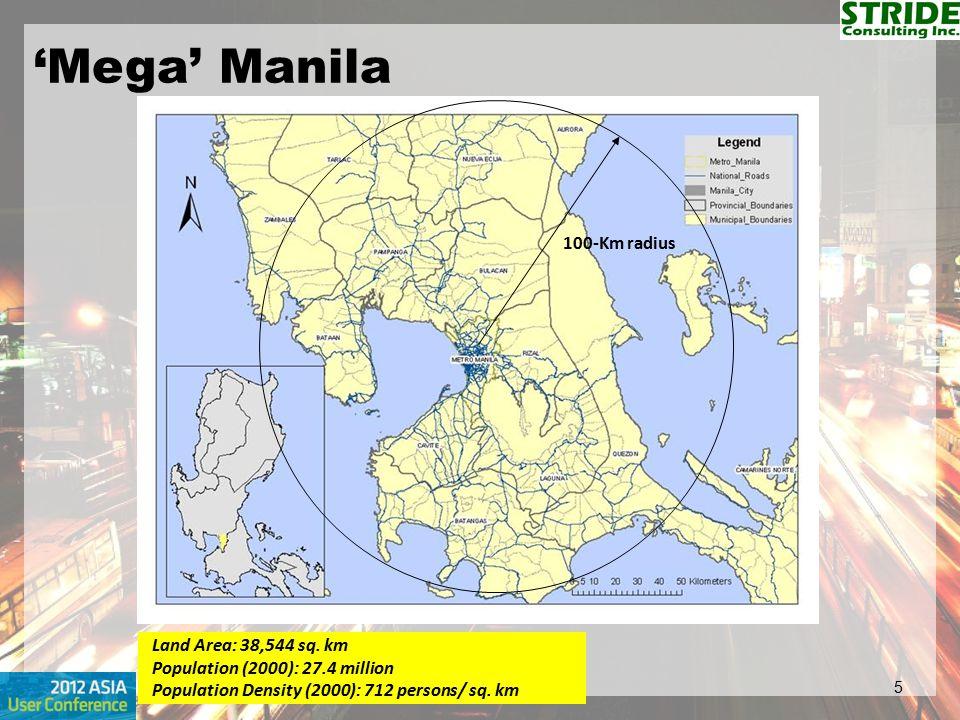 'Mega' Manila 100-Km radius Land Area: 38,544 sq. km