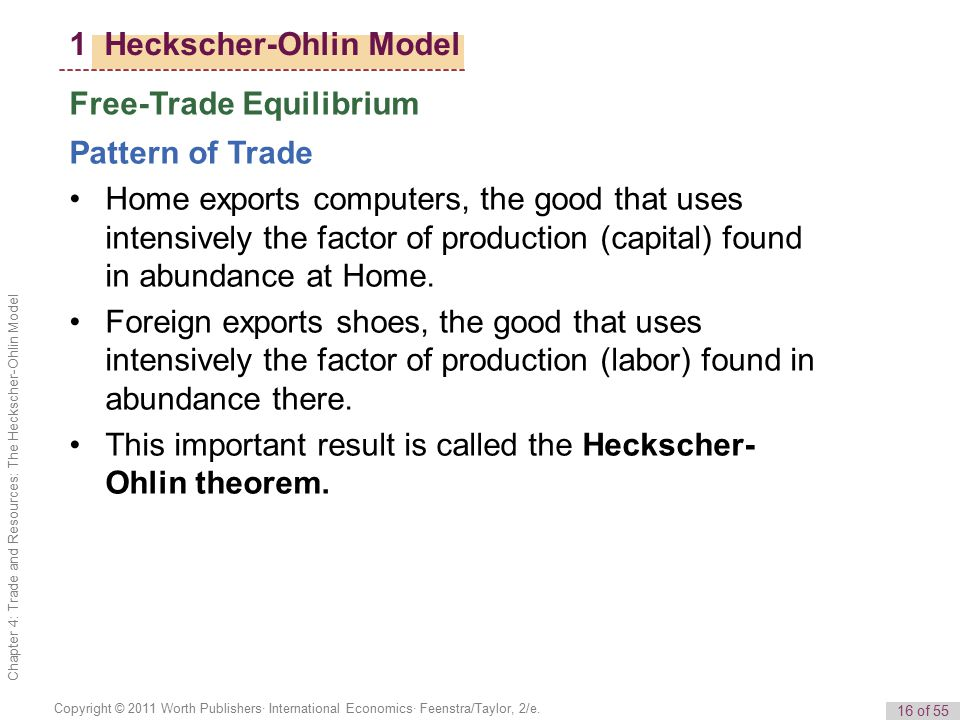 the model of trade in heckscher ohlin theory The heckscher-ohlin model is a theory in economics explaining that countries export what they can most efficiently and plentifully produce this model is used to evaluate trade and, more .