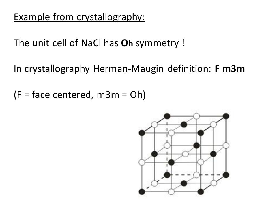 Example from crystallography: