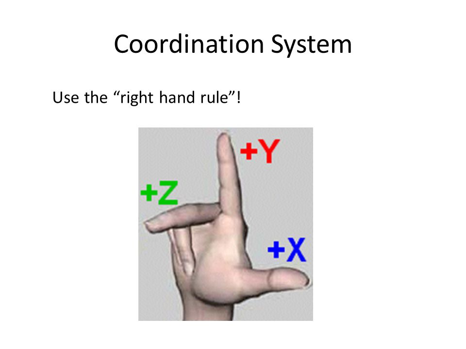 Coordination System Use the right hand rule !