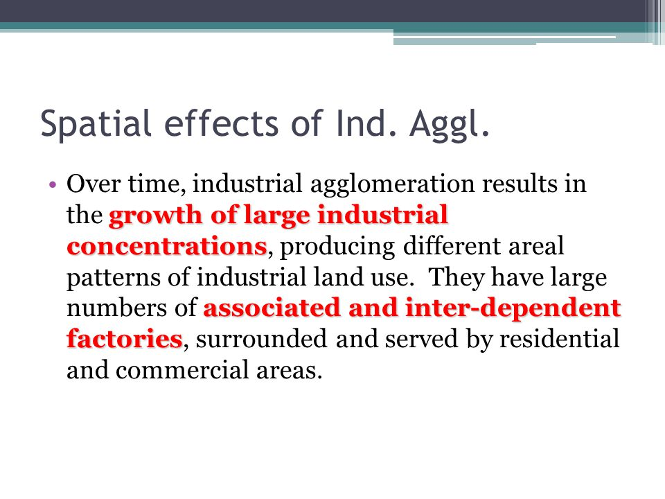 Spatial effects of Ind. Aggl.