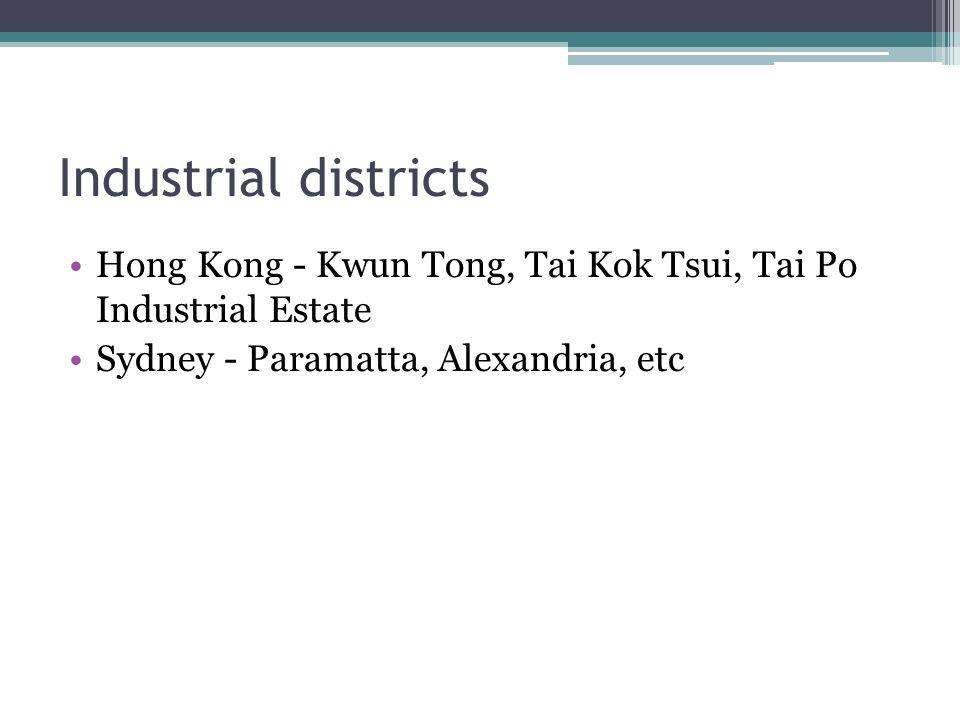 Industrial districts Hong Kong - Kwun Tong, Tai Kok Tsui, Tai Po Industrial Estate.
