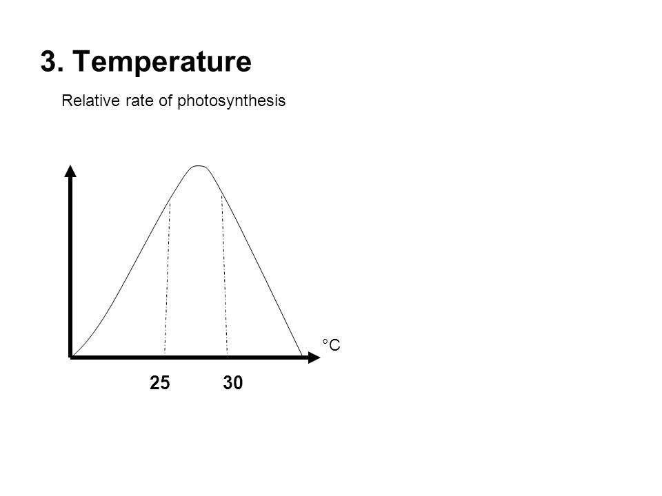 3. Temperature Relative rate of photosynthesis °C 25 30