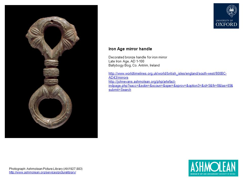 Iron Age mirror handle Decorated bronze handle for iron mirror