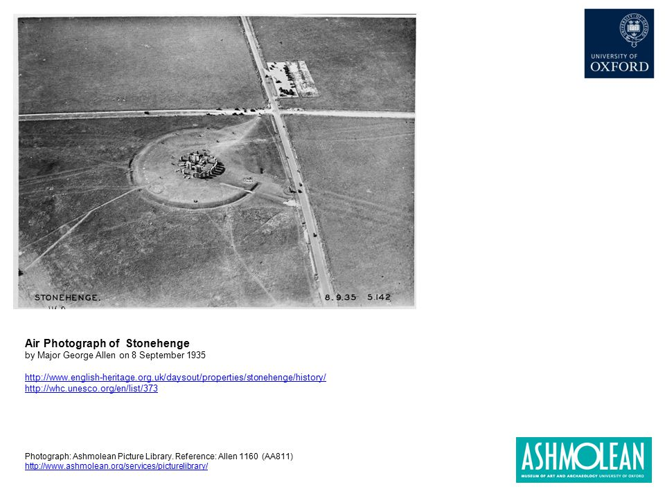 Air Photograph of Stonehenge by Major George Allen on 8 September 1935