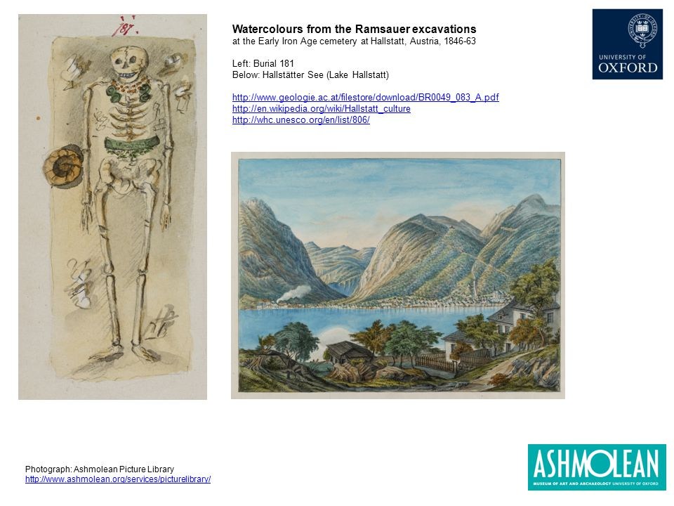 Watercolours from the Ramsauer excavations at the Early Iron Age cemetery at Hallstatt, Austria, 1846-63