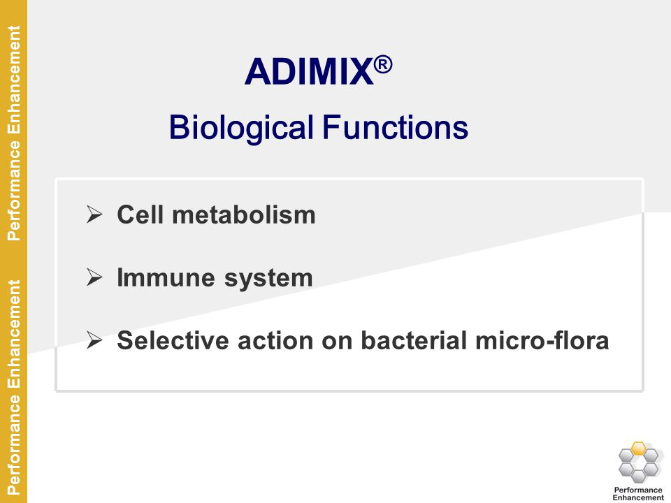 ADIMIX® Biological Functions Cell metabolism Immune system