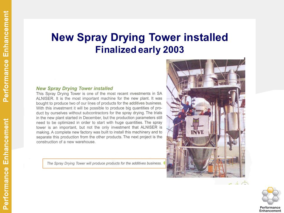 New Spray Drying Tower installed