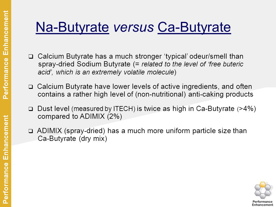Na-Butyrate versus Ca-Butyrate