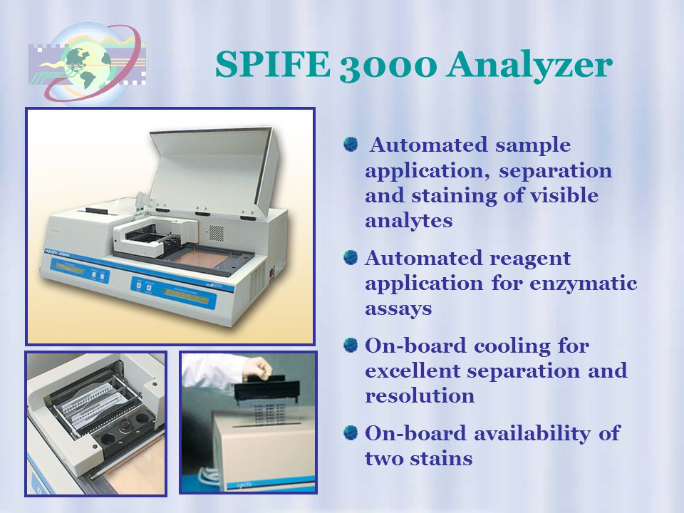 SPIFE 3000 Analyzer Automated sample application, separation and staining of visible analytes. Automated reagent application for enzymatic assays.