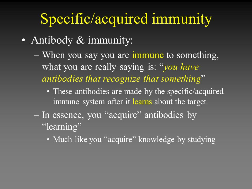 Specific/acquired immunity