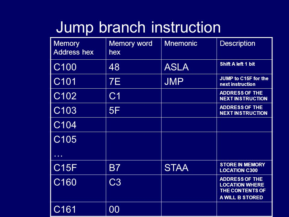 Jump branch instruction