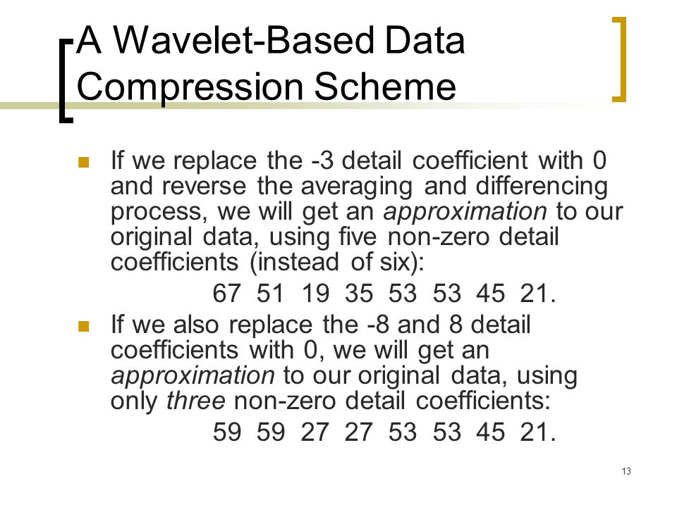 A Wavelet-Based Data Compression Scheme