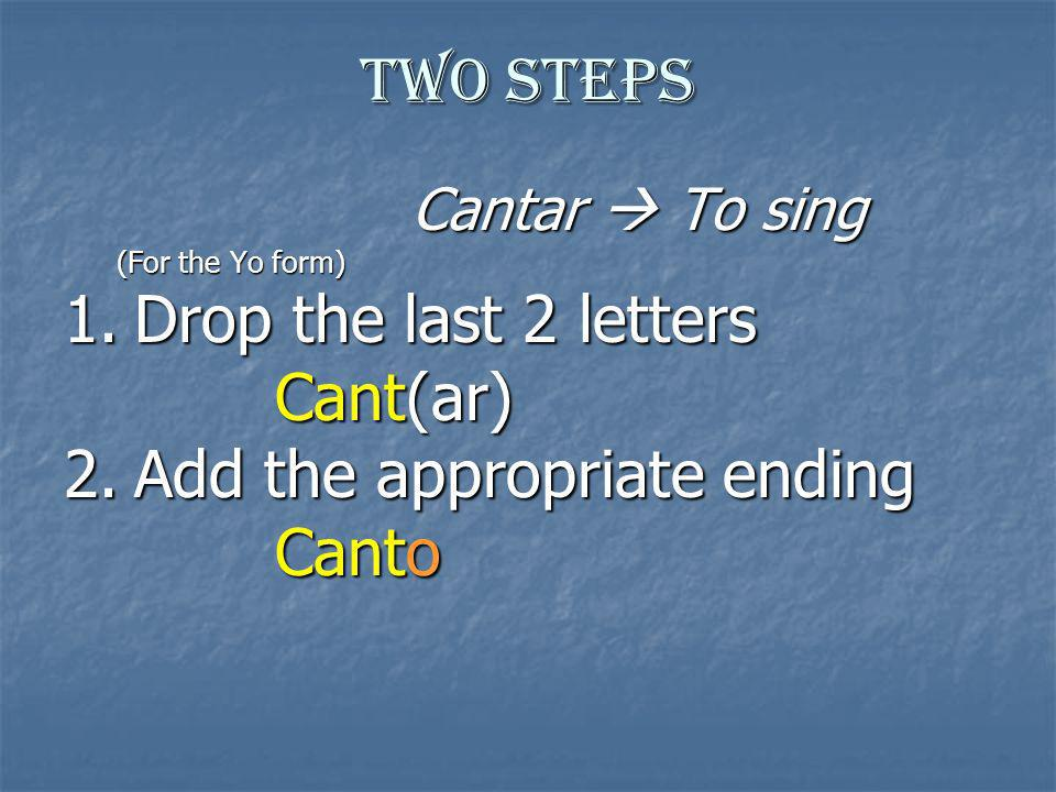 Drop the last 2 letters Cant(ar) Add the appropriate ending Canto