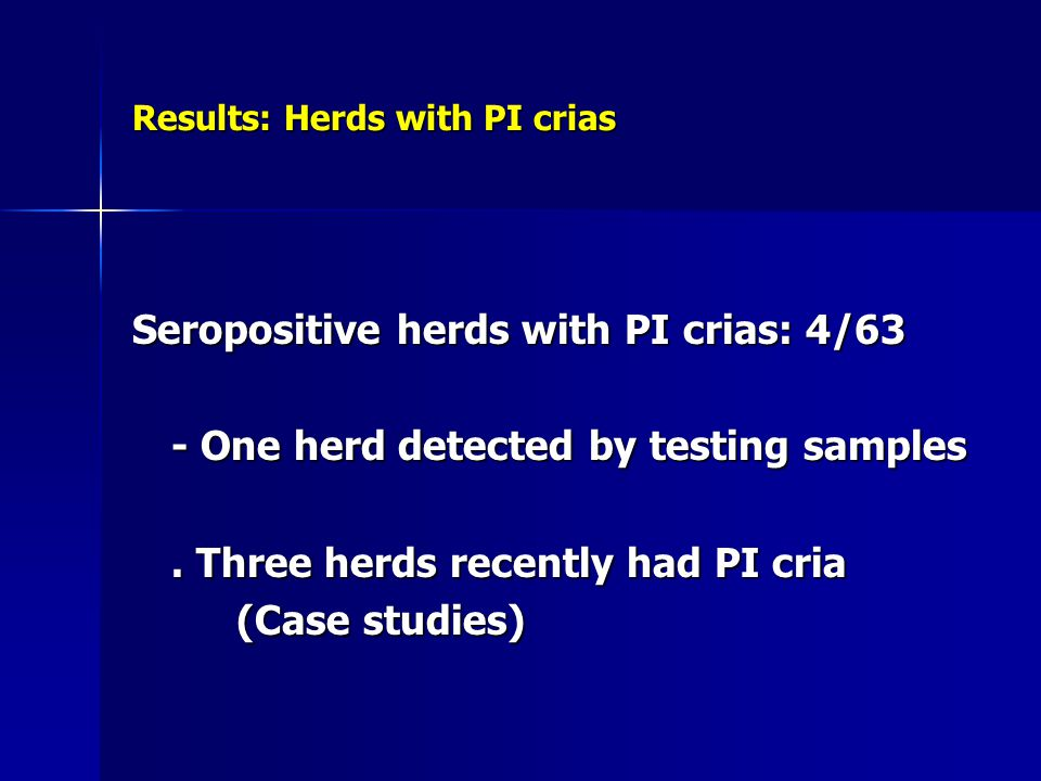 Results: Herds with PI crias