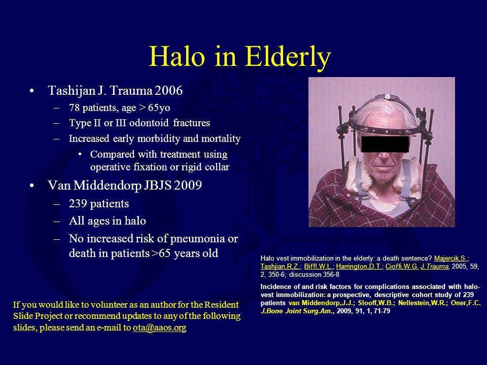 Halo in Elderly Tashijan J. Trauma 2006 Van Middendorp JBJS 2009