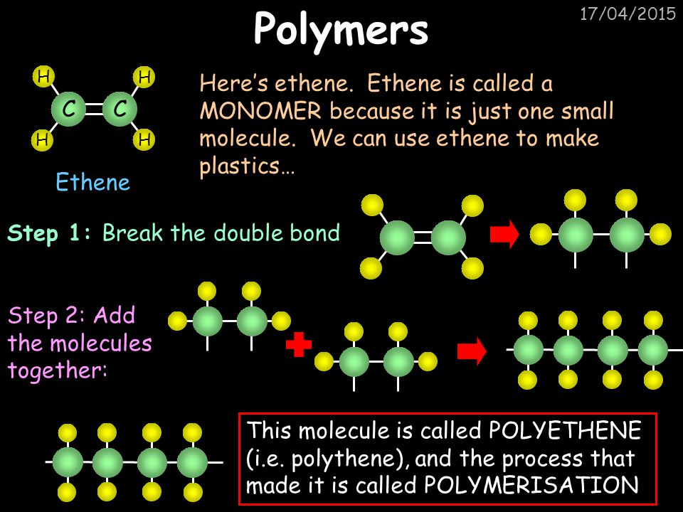Polymers 11/04/2017. C. H. Ethene.