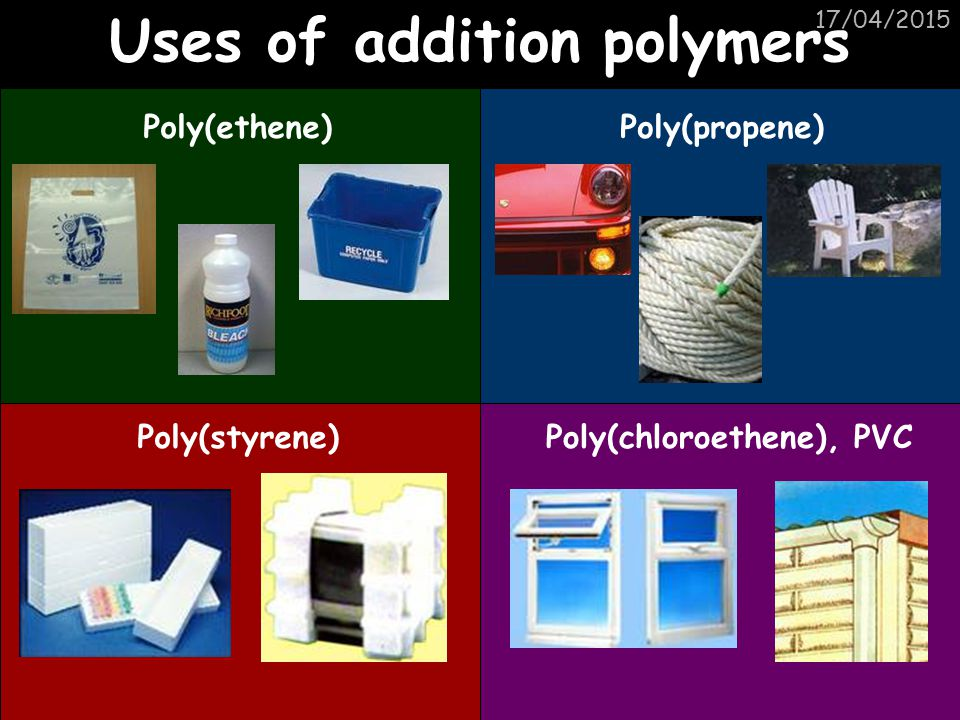 Uses of addition polymers